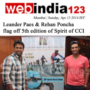 WebIndia 123 - Leander Paes and Rehan Poncha Flag off 5th Edition of Spirit of CCI